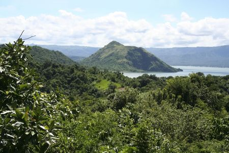 taal crater lake seen from the slopes of the highly active taal volcano tagaytay in the philippines photo
