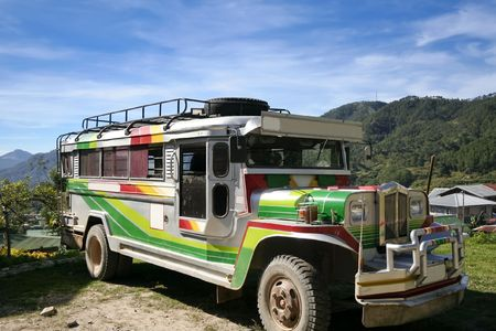 jeepney on mountain road near sagada northern luzon the philippines Stock Photo - 6625175
