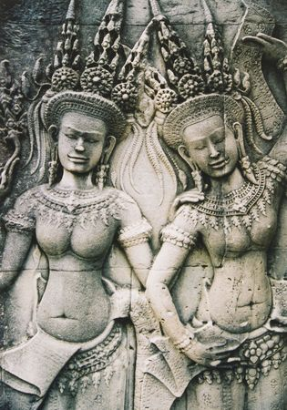 cambodia sculpture: asparas relief on wall in central temple complex of angkor wat cambodia Stock Photo