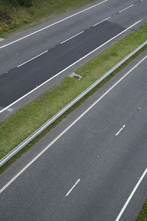 dual: detail of two lane motorway shot from overhead