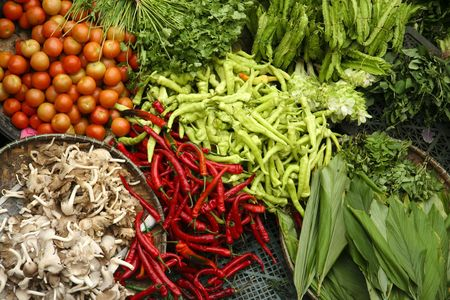 fresh vegetables at market in kota baru malaysia
