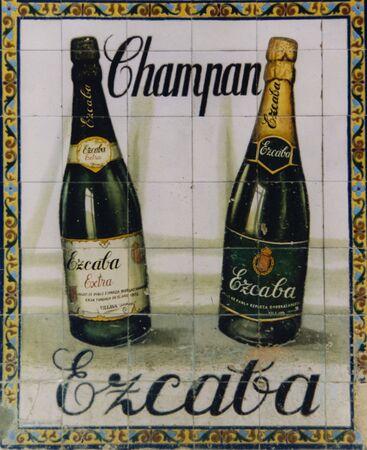 Viejo fabricadas publicidad para chamapne en mosaico pared en España  Foto de archivo - 6896199