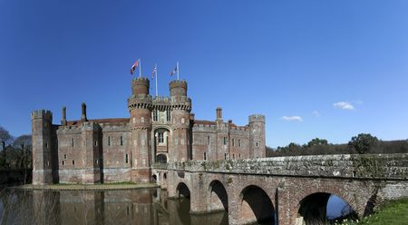 15th century Herstmonceux castle in east sussex one of the first brick buildings in england built for grandeur and comfort more than defence  Stock Photo