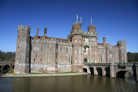 15th century: 15th century Herstmonceux castle in east sussex one of the first brick buildings in england built for grandeur and comfort more than defence Stock Photo