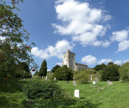 churchyard: typical english rural church in edlesborough bedforshire england