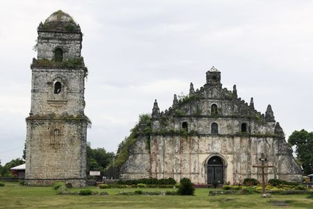 spanish colonial church built from coral blocks in paoay, ilocos in the philippines