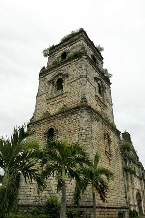coral bell: coral block bell tower of spanish colonial era church in illocos the philippines