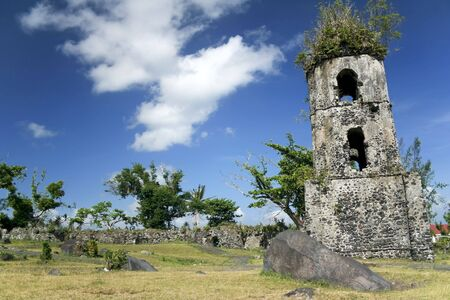 mayon: ruins of colonial cagsawa church belfry destroyed by the mayon volcano in albay province south luzon in the Philippines Stock Photo