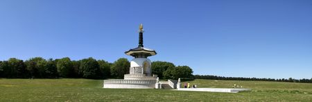 milton: ornate peace pagoda in willen park milton keynes buckinghamshire england