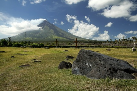 mayon: huge boulder from previous eruptions in the debris field of active volcano mount mayon in albay province luzon island in the philippines