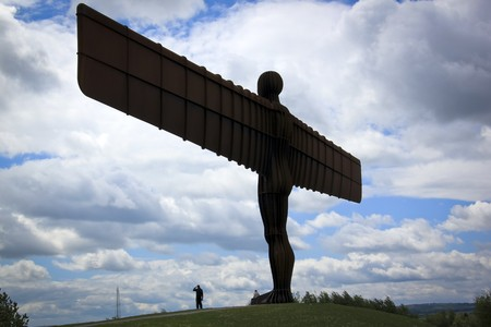 the angel of the north sculpture in gateshead northeast england on a hill overlooking the main a1 road
