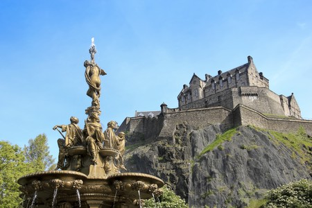 iconic ross fountain in princes street gradens underneath edinburgh castle in scotland Stock Photo