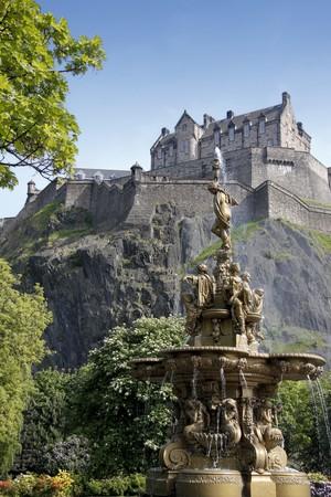 iconic ross fountain in princes street gradens underneath edinburgh castle in scotland Stock Photo