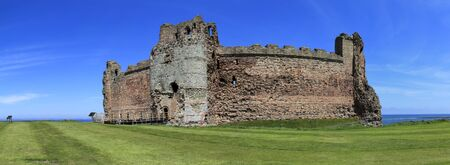 lothian: 14th century tantallon castle at the mouth of the firth of forth in east lothian scotland destroyed in the english civil war in 1651