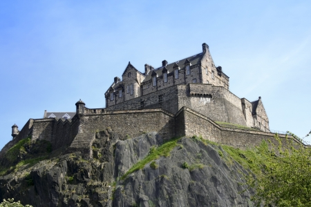 historic edinburgh castle  built on extinct volcano in the centre of scotlands capital city Stock Photo