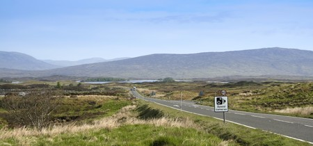 road signs on the road crossing boggy rannoch moor in the highlands of scotland photo