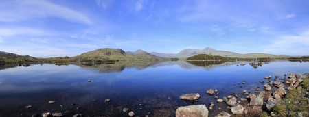 blue sky reflecting in the still water of lakes on rannoch moor in the scottish highlands photo