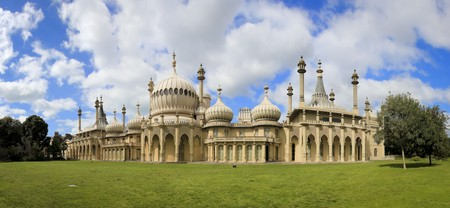 onion domes, towers and minarets forming the roof of the royal pavilion palace in brighton england, King George IVs summer house and Regency folly
