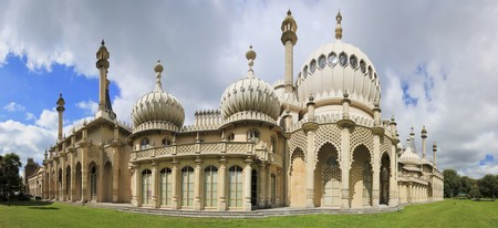 tourists admiring the mogul inspired regency architecture of brightons royal pavillion in sussex england  Stock Photo
