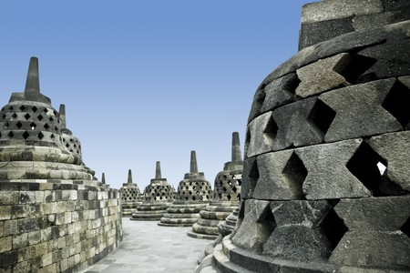 top of the ancient borobudur buddhist temple in jogjakarta java indonesia photo