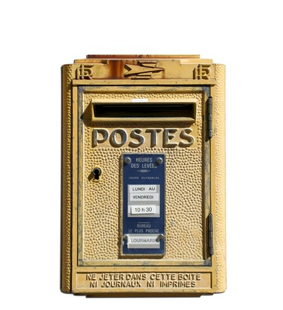 lourmarin: french rural yellow post box from the provence town of lourmarin isolated on a white background  Editorial