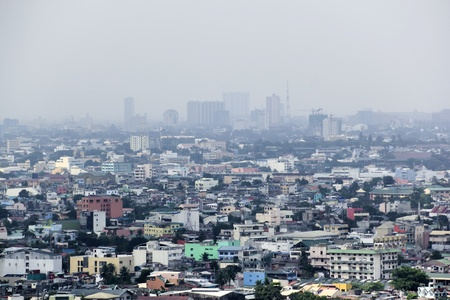 polluted air of crowded makati city in manila capital of the philippines