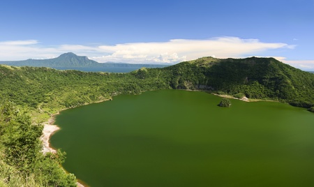 venting: sulfuric green crater lake inside the crater of the taal volcano tagaytay near manila luzon island in the philippines Stock Photo