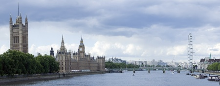 panorama of the houses of parliament on the river thames in westminster city of london england photo