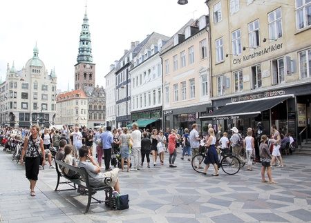 COPENHAGEN - JULY, 29: Stroget - This popular tourist attraction in the centre of town is the longest pedestrian shopping area in Europe in Copenhagen, Denmark. On July 29, 2010  Editorial