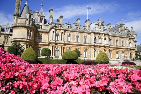 manor: Waddesdon Manor built on a hill overlooking the village in buckinghamshire england, built by the Rothschilds in the style of a French château between 1874 and 1889