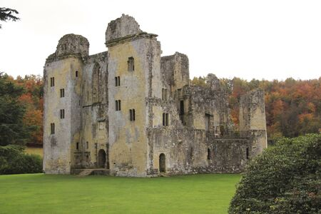 civilisation: The ruins of Old Wardour castle in autumn woods near Salisbury England destroyed in the english civil war Editorial