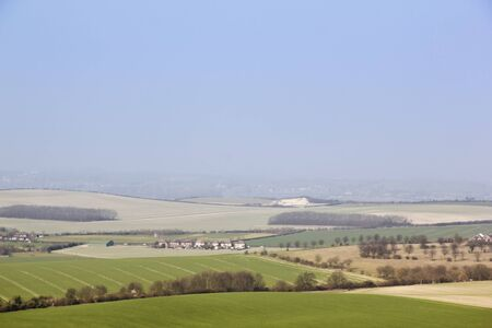 the rolling chalk hills of the dunstable dowsn in the aylesbury vale in bedfordhsire england photo