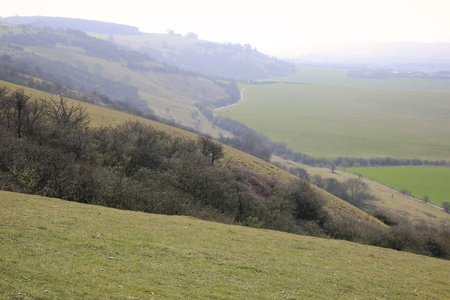 hazy day on the dunstable downs ridgeway path in buckinghamshire england photo