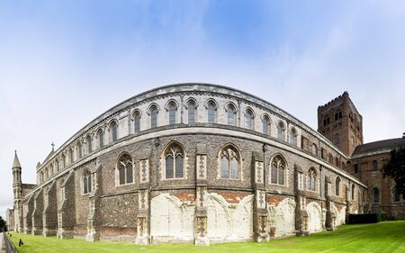 remnants: the walls of englands longest cathedral displaying remnants of the original norman construction st albans hertfordshire uk