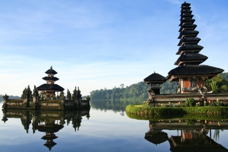 indonesia people: Beautiful Pura Ulun Danu temple on lake brataan, bali, indonesia at dawn