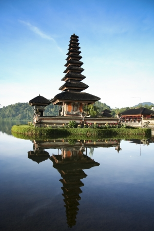 Beautiful Pura Ulun Danu temple on lake brataan bali indonesia at dawn photo