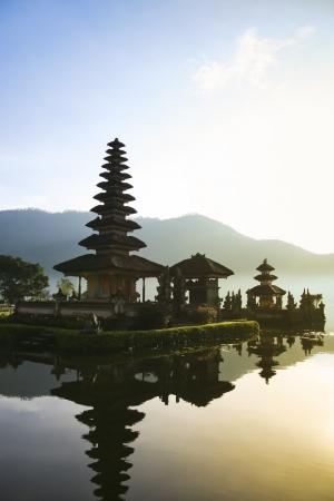 Beautiful Pura Ulun Danu temple on lake brataan, bali, indonesia photo