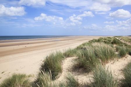 helmgras het groeien op zandduinen die zandig holkhamstrand in Noord-Norfolk Engeland overlloking