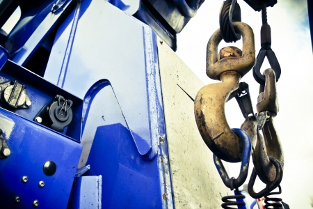 two large hooks on back of rescue recovery truck Stock Photo - 15376052
