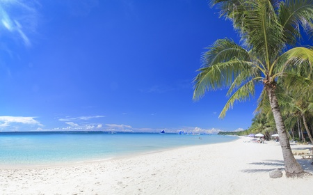 panoramic view of white beach on boracay island in the philippines photo