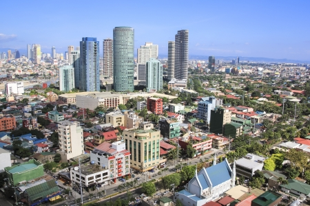 high rise condominiums and office blocks in rockwell part of crowded makati city in manila the philippines photo