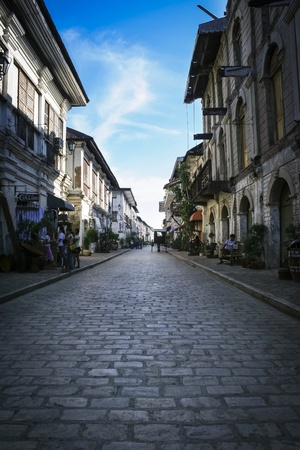 cobblestone street: narrow streets of vigan old town built by the spanish in colonial period of the philippines Editorial