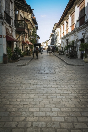 narrow streets of vigan old town built by the spanish in colonial period of the philippines