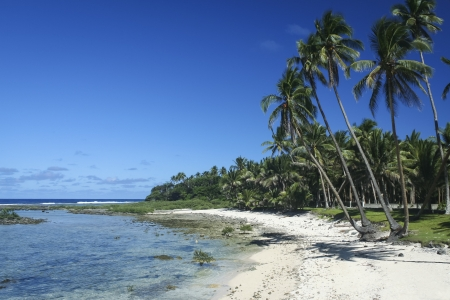 on cloud nine: white sand beach ringed by palm trees cloud nine surf break siargao island in the philippines Stock Photo