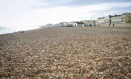 brighton beach: pebble beach of brighton in each sussex england in winter Stock Photo