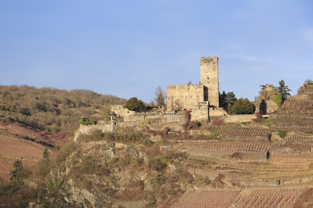 rudesheim: The ruins of medieval castle next to steep vineyards, Rhine River, Germany Editorial