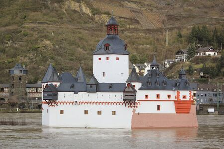 Castle Pfalzgrafenstein in the middle of the rhine river in Germany