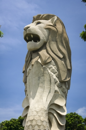 iconic merlion statue towering over sentosa island in singapore city