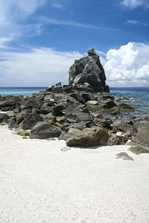 rock formation on apo island beach in the philippines photo