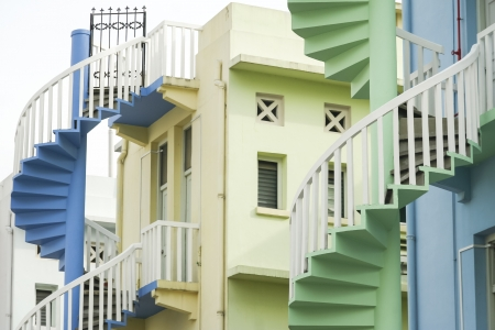colorful spiral staircases at the back of traditional chinese shop houses in singapore city Stock Photo - 18843578